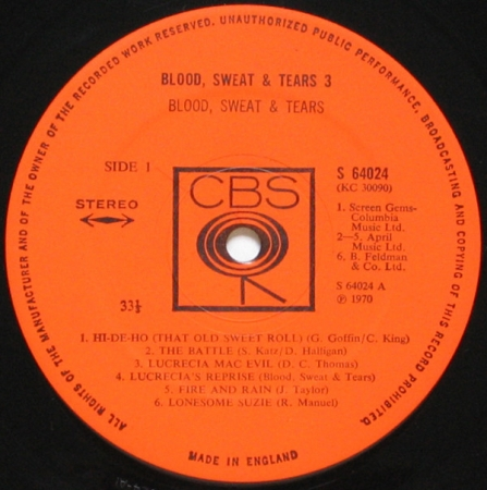 Blood, Sweat & Tears – Blood, Sweat & Tears 3 (UK 1970)