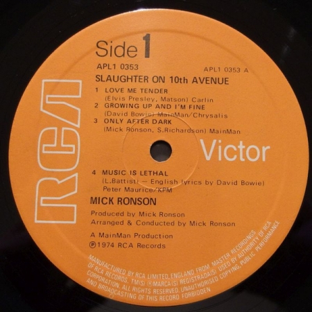 Mick Ronson - Slaughter On 10th Avenue (UK 1974)